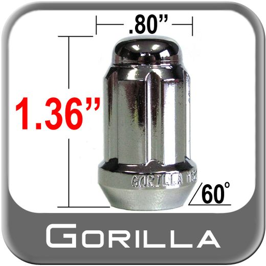 Gorilla® 10mm x 1.25 Lug Nuts Tapered (60°) Seat Right Hand Thread Chrome Sold Individually #21118HT