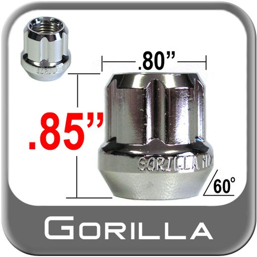 Gorilla® 12mm x 1.5 Lug Nuts Tapered (60°) Seat Right Hand Thread Chrome Sold Individually #20038SD