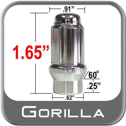 Gorilla® 14mm x 1.5 Lug Nuts Mag E-T (w/60° Taper) Seat Right Hand Thread Chrome Sold Individually #26148ETS
