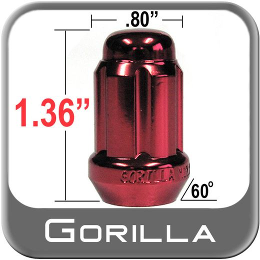 """Gorilla® 1/2"""" x 20 Lug Nuts Tapered (60°) Seat Right Hand Thread Red Sold Individually #21188RD"""