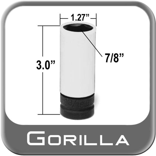 "Gorilla® Thin Wall Impact Socket 7/8"" Hex Socket, 1/2"" Drive Sold Individually #78TWS"