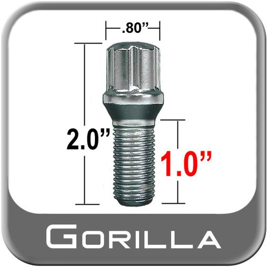 Gorilla® 14mm x 1.25 Wheel Bolt Tapered (60°) Seat Right Hand Thread Chrome Sold Individually #17141SD