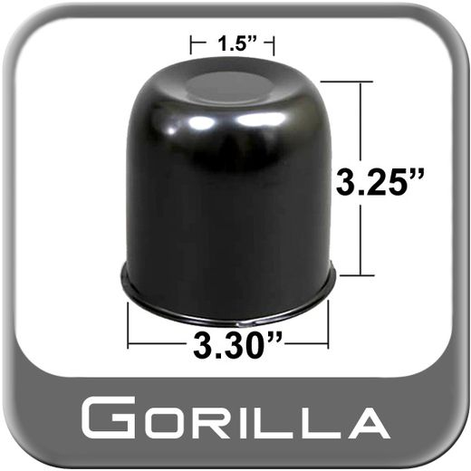 Gorilla® Black Wheel Hub Cover Recessed w/Emblem Indentation Cylindrical w/Dome Tip Sold Individually #HC216BC
