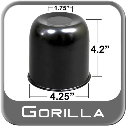 Gorilla® Black Wheel Hub Cover Recessed w/Emblem Indentation Cylindrical w/Tapered Tip Sold Individually #HC202BC