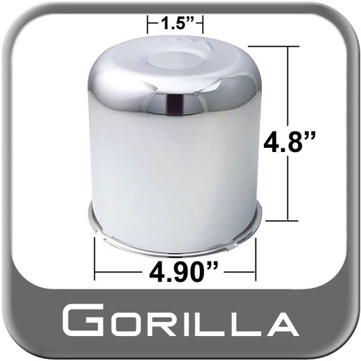 Gorilla® Chrome Wheel Hub Cover Recessed w/Emblem Indentation Cylindrical w/Dome Tip Sold Individually #HC203