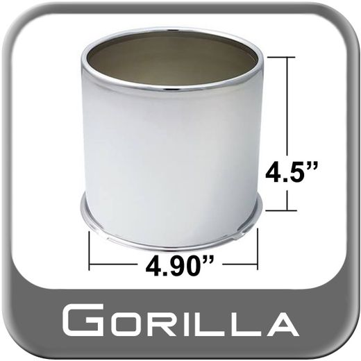 Gorilla® Chrome Wheel Hub Cover Open w/Rolled Edge Cylindrical Sold Individually #HC205