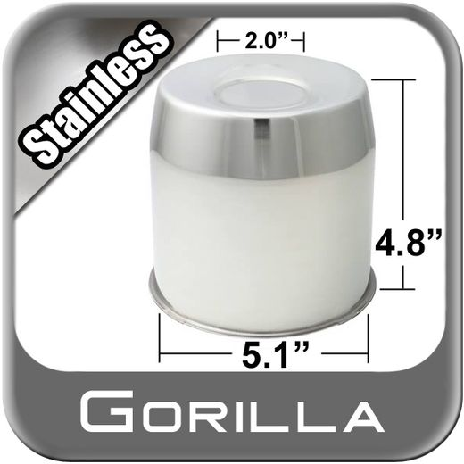 Gorilla® Stainless Wheel Hub Cover Recessed w/Emblem Indentation Cylindrical w/Tapered Tip Sold Individually #HC211SS