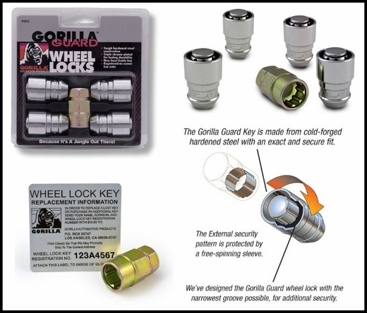 "Gorilla® 9/16"" x 18 Wheel Locks Tapered (60°) Seat Right Hand Thread Chrome 4 Locks w/Key #66691XL"
