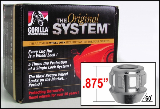 Gorilla® 14mm x 1.5 Wheel Locks Tapered (60°) Seat Right Hand Thread Silver 32 Locks w/Key #78645N