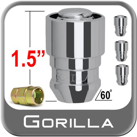 Gorilla® 12mm x 1.25 Wheel Locks Tapered (60°) Seat Right Hand Thread Chrome 4 Locks w/Key #61621