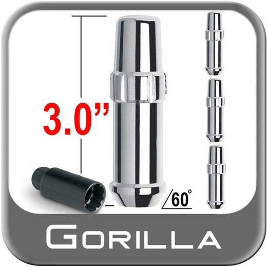 "Gorilla® 9/16"" x 18 Wheel Locks Tapered (60°) Seat Right Hand Thread Chrome 4 Locks w/Key #76691XX"