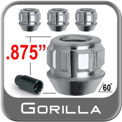 Gorilla® 14mm x 2.0 Wheel Locks Tapered (60°) Seat Right Hand Thread Silver 4 Locks w/Key #78601N