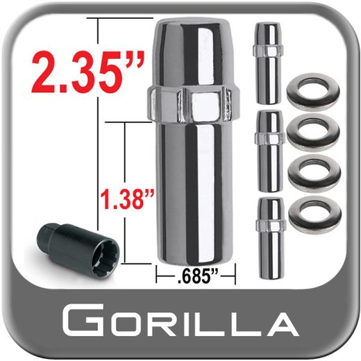 Gorilla® 12mm x 1.25 Wheel Locks Mag Seat Right Hand Thread Chrome 4 Locks w/Key #84621N
