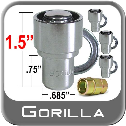 "Gorilla® 1/2"" x 20 Wheel Locks Mag Seat Right Hand Thread Chrome 4 Locks w/Key #63681"