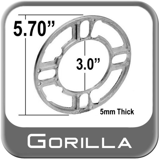 Gorilla® Silver Wheel Spacers 5-Hole on 100mm Round Sold Individually #SP605