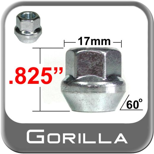 Gorilla® 12mm x 1.25 Zinc Plated Lug Nuts Tapered (60°) Seat Right Hand Thread Silver Sold Individually #30028