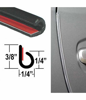 """""""J"""" Style Black Door Edge Guard Sold by the Foot, Trim Gard® # NC02-01"""