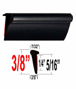 Lip Style Black Car Door Guards ( PK01 ), Sold by the Foot, Cowles® # 39-651