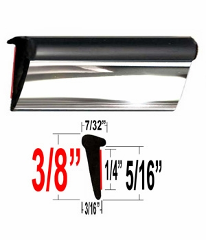Lip Style Black / Chrome Car Door Guards Sold by the Foot, Cowles® # 39-650