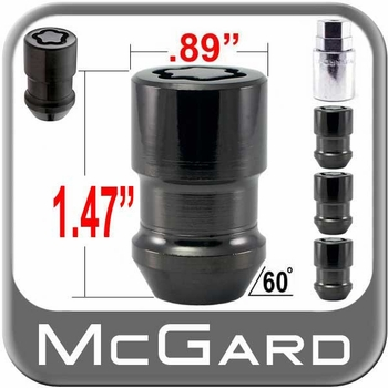 "McGard® 1/2"" x 20 Wheel Locks Tapered (60°) Seat Right Hand Thread Black 4 Locks w/Key #24038"