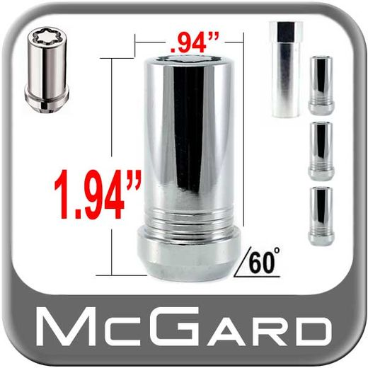 McGard® 14mm x 1.5 Small Diameter Wheel Locks Tapered (60°) Seat Right Hand Thread Chrome 4 Locks w/Key #25110