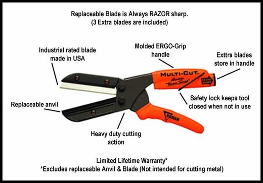 "Ronan Molding Cutters 2"" Blade Refillable, w/ 3 Extra Blades #301"