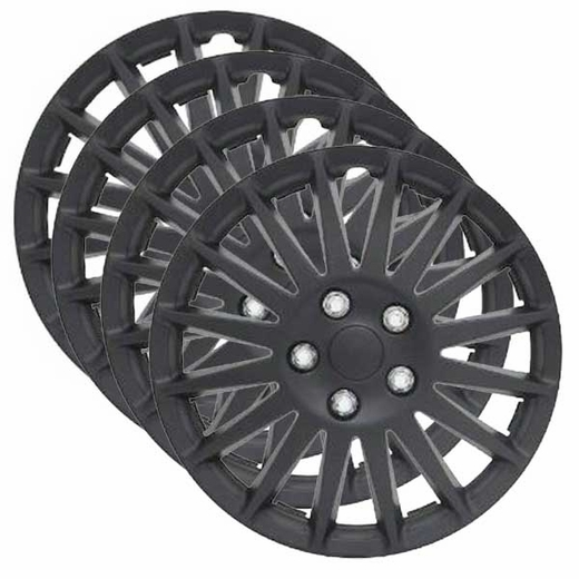 "Pilot Automotive 16"" Black Hub Caps Black Indy Style, 16-Spoke Set of 4 #WH521-16C-B"