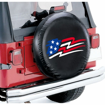 "Plasticolor American Flag Spare Tire Cover Black Vinyl Material/Color Fits 27""-31"" Tires w/American Flag Logo #798"