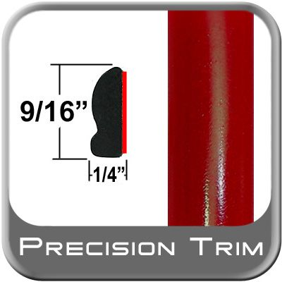 "9/16"" Wide Absolute Red Wheel Molding Trim 3P0 ( CP16 / PT88 ), Sold by the Foot, ColorTrim Plastics® # 30-16"
