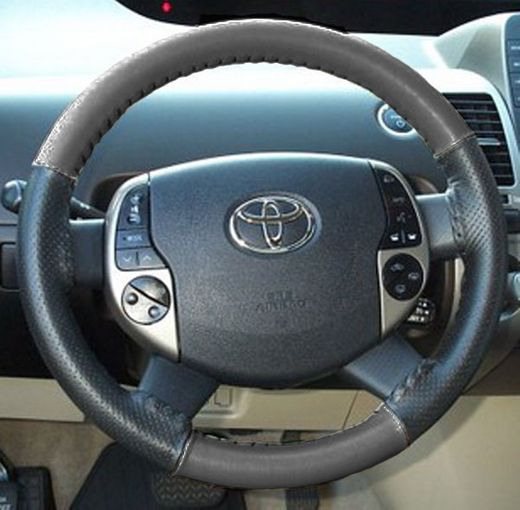 Scion Steering Wheel Cover Gray/Black Leather by Wheelskins Genuine Toyota #PTS28-52040-01