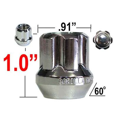 "Gorilla® 9/16"" x 18 Lug Nuts Tapered (60°) Seat Right Hand Thread Chrome Sold Individually #26098SD"