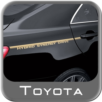 """Toyota Camry Hybrid Body Graphics 2007-2011 """"Toyota Synergy Drive"""" Gold on Clear Genuine Toyota #PT747-33070"""