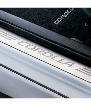 Toyota Corolla Door Sill Protectors 2003-2008 Stainless Steel Front Pair Genuine Toyota #PTS21-02030