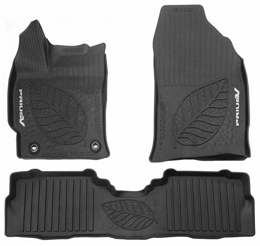 Toyota Prius Rubber Floor Mats 2012-2017 V All-Weather Floor Liners Black 3-Piece Set Genuine Toyota #PT908-47170-02
