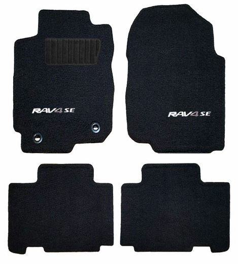 Toyota RAV4 Carpeted Floor Mats 2017-2018 HV Black w/SE Logo 4-Piece Set Genuine Toyota #PT206-62170-02