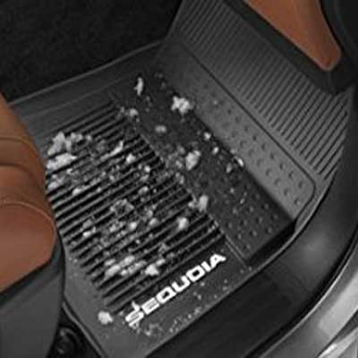 Toyota Sequoia Rubber Floor Mats 2016-2019 All-Weather Black 3-Piece Set Genuine Toyota #PT908-0C161-02