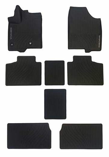 Toyota Sienna Rubber Floor Mats 2013-2019 All-Weather Black 8-Piece Set Genuine Toyota #PT908-08170-02