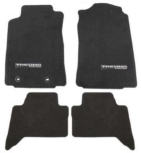 Toyota Tacoma Carpeted Floor Mats 2016-2017 Black w/ Limited Logo 4-Piece Set Genuine Toyota #PT206-35170-02