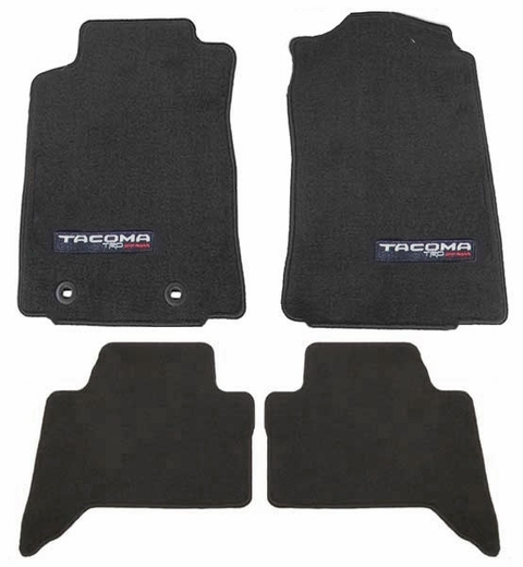 Toyota Tacoma Carpeted Floor Mats 2016-2017 Black w/ TRD Off Road Logo 4-Piece Set Genuine Toyota #PT206-35178-02
