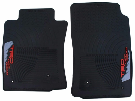 Toyota Tacoma Rubber Floor Mats 2005-2011 Black w/ TRD Offroad Logo Front pair Genuine Toyota #PT908-350RW-02