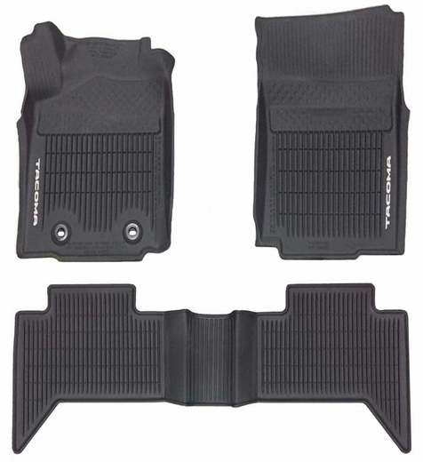 Toyota Tacoma Rubber Floor Mats 2016-2019 All-Weather Floor Liners Black 3-Piece Set Genuine Toyota #PT908-35175-20