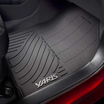 Toyota Yaris Rubber Floor Mats 2015-2016 All-Weather Black 4-Piece Set Genuine Toyota #PT908-52150-20