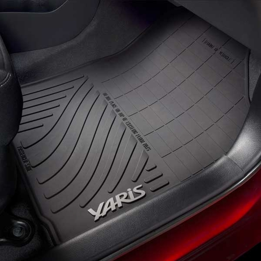 Toyota Yaris Rubber Floor Mats 2017-2018 All-Weather Black 4-Piece Set Genuine Toyota #PT908-52171-02