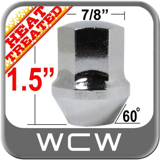 West Coast Wheel® 14mm x 1.5 Camaro Lug Nuts Tapered (60°) Seat Right Hand Thread Chrome Sold Individually #W1014LS