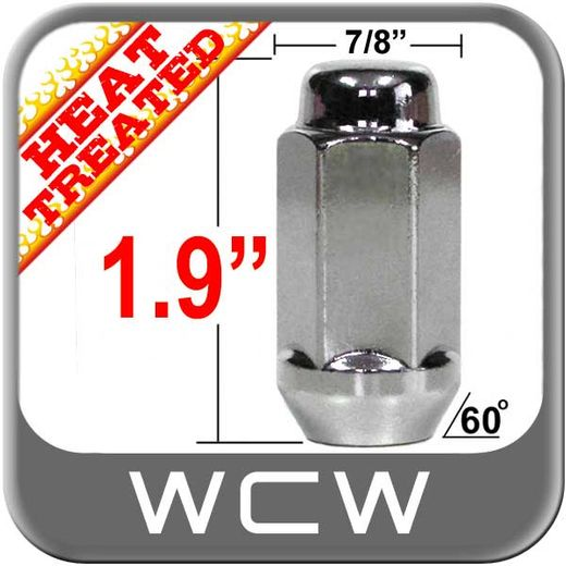 """West Coast Wheel® 9/16"""" x 18 Chrome Lug Nuts Tapered (60°) Seat Right Hand Thread Chrome Sold Individually #W7896L"""