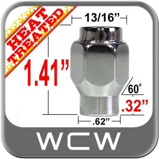West Coast Wheel® 14mm x 1.5 Chrome Lug Nuts Mag E-T (w/60° Taper) Seat Right Hand Thread Chrome Sold Individually #W1014
