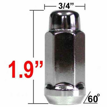 West Coast Wheel® 14mm x 1.5 Chrome Lug Nuts Tapered (60°) Seat Right Hand Thread Chrome Sold Individually #W1014L