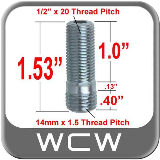 West Coast Wheel® Silver Wheel Stud Open (Female) Sold Individually #198-STUD94-38