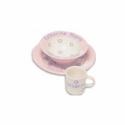 Personalized Baby Dot Dishware - Blossom Pink Cup, Bowl & Plate Set Free Shipping