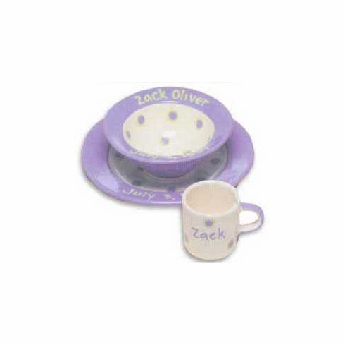 Personalized Baby Dot Dishware - Cornflower Blue Cup, Bowl & Plate Set Free Shipping